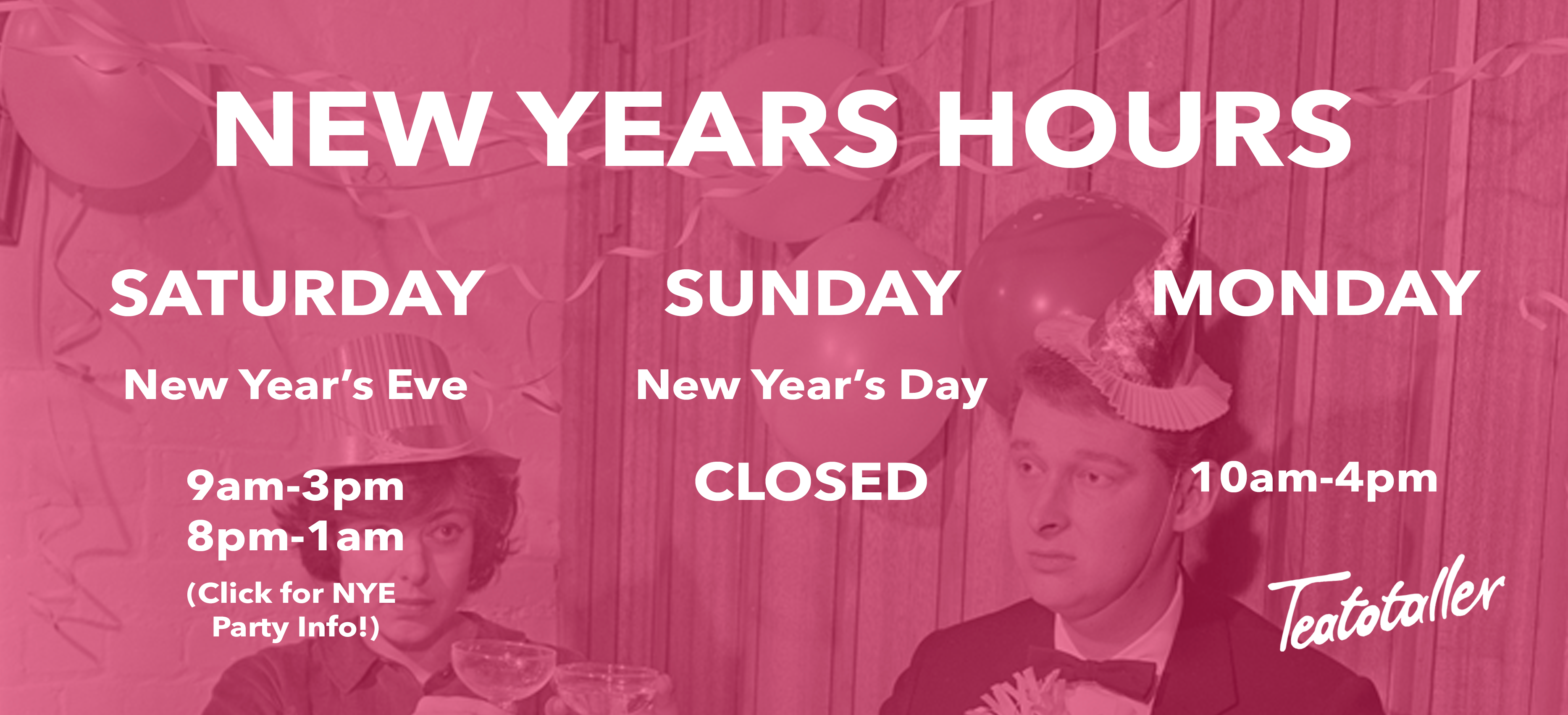 Teatotaller event: New Years Eve All Ages Party