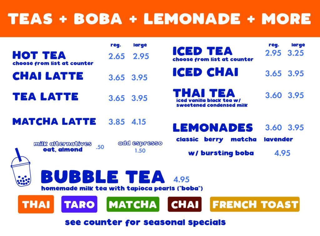 Teas + Boba + Lemonade + More